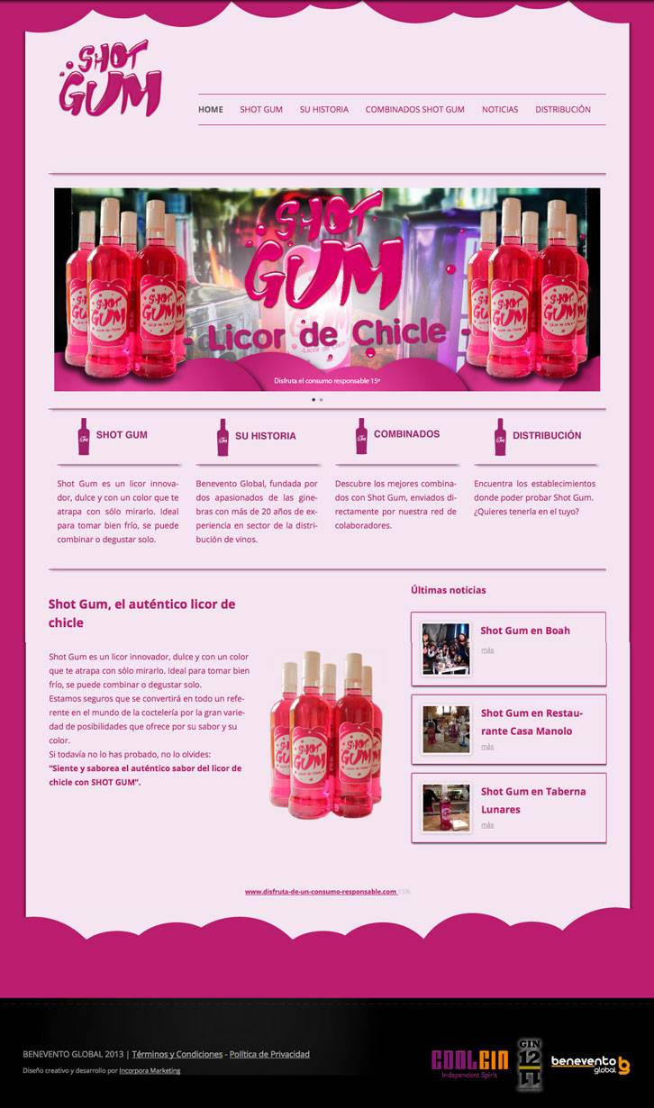 Diseño web licor Shotgum